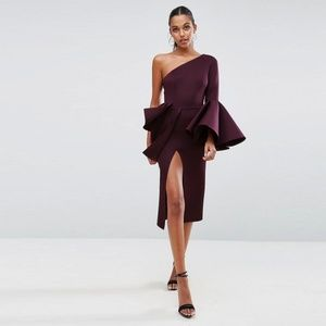 ASOS Premium One Shoulder Ruffle Peplum Midi Dress